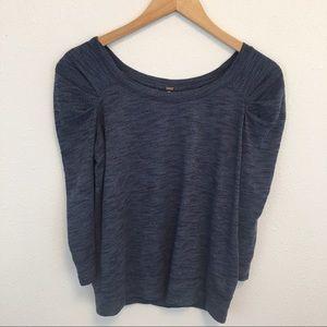 Free People blue 3/4 sleeve sweater pleat shoulder